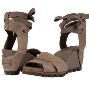 Sorel Joanie wrap wedge sandals Sahara